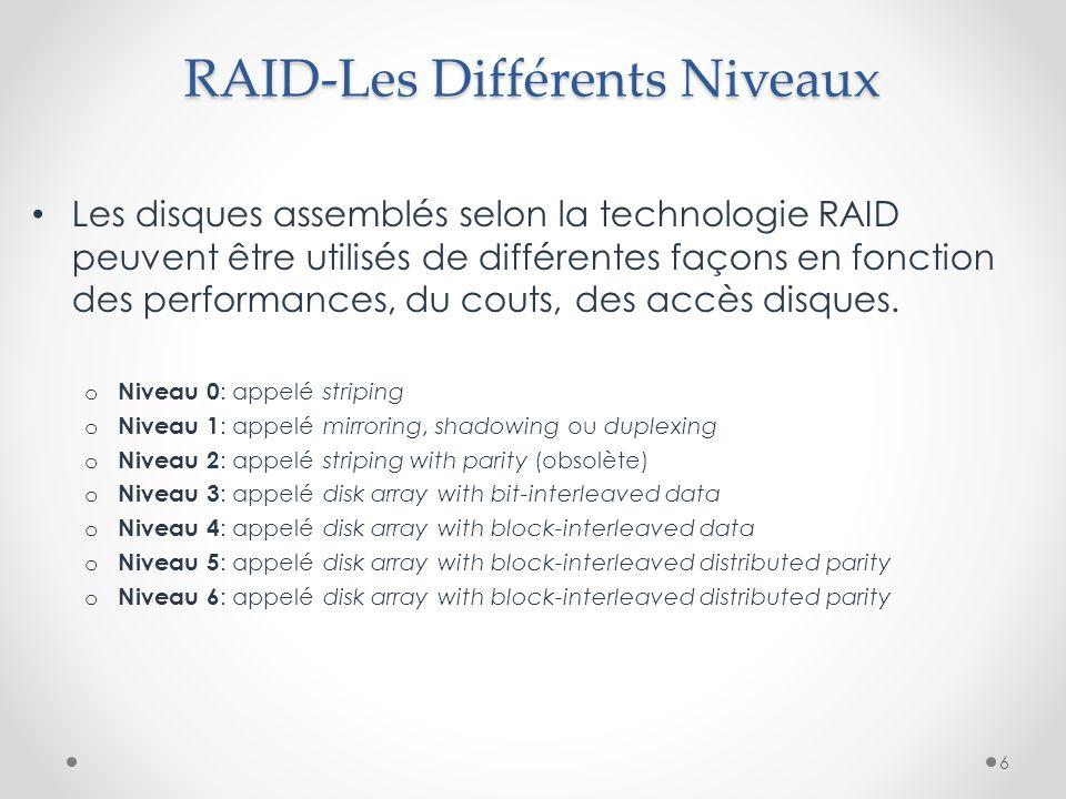 RAID-Les Différents Niveaux Les disques assemblés selon la technologie RAID peuvent être utilisés de différentes façons en fonction des performances,