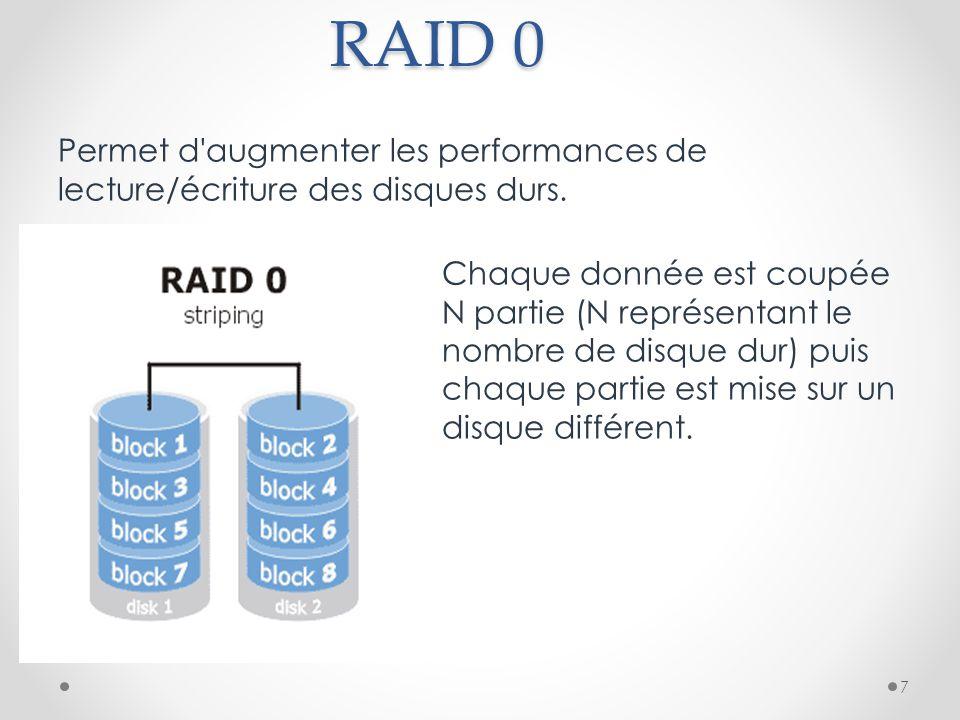 RAID 0 Permet d'augmenter les performances de lecture/écriture des disques durs. Chaque donnée est coupée en N partie (N représentant le nombre de dis
