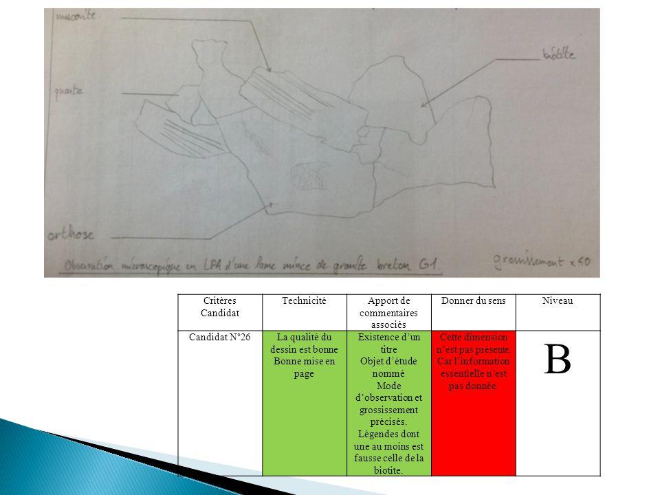 Critères Candidat TechnicitéApport de commentaires associés Donner du sensNiveau Candidat N°26La qualité du dessin est bonne Bonne mise en page Existence d'un titre Objet d'étude nommé Mode d'observation et grossissement précisés.
