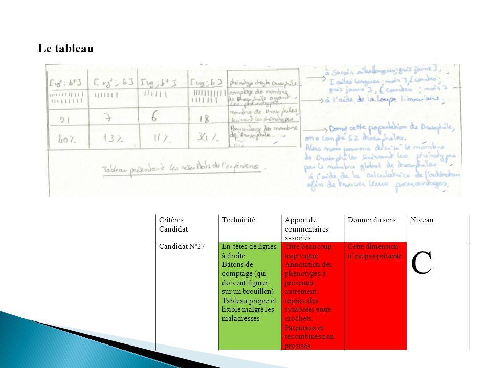 Le tableau Critères Candidat TechnicitéApport de commentaires associés Donner du sensNiveau Candidat N°27En-têtes de lignes à droite Bâtons de comptag