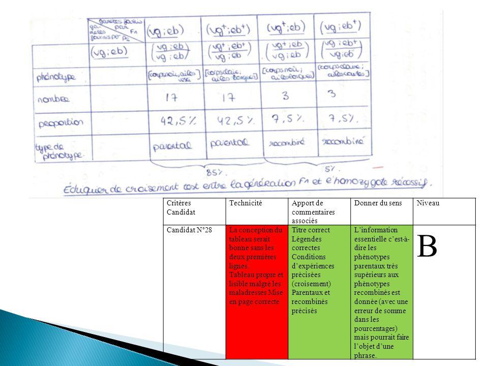 Critères Candidat TechnicitéApport de commentaires associés Donner du sensNiveau Candidat N°28La conception du tableau serait bonne sans les deux prem