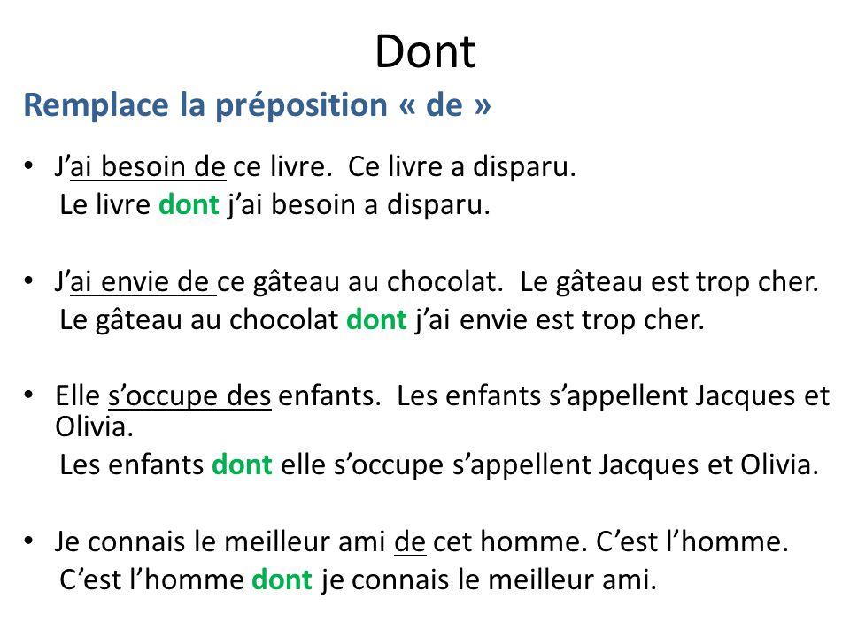 Principaux verbes avec la préposition DE.