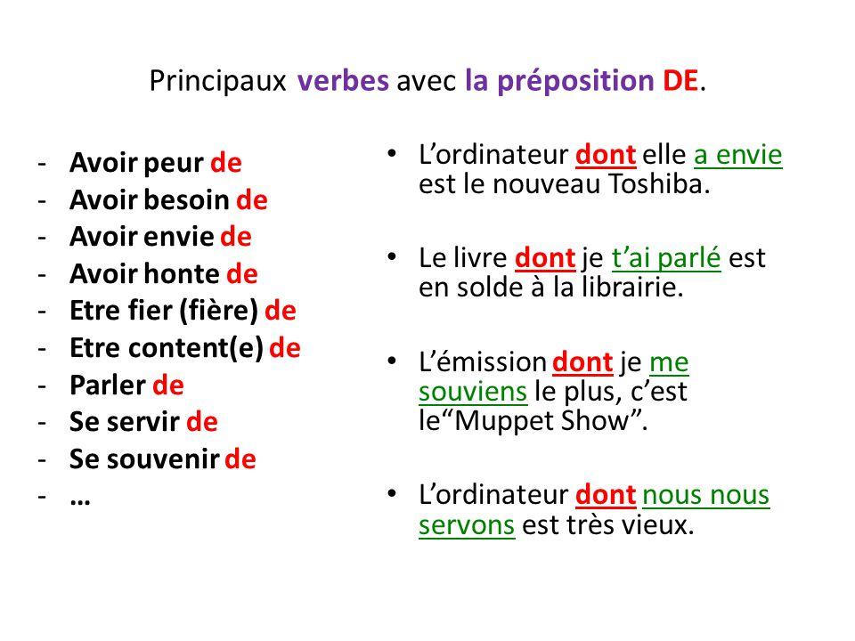 Principaux verbes avec la préposition DE. -Avoir peur de -Avoir besoin de -Avoir envie de -Avoir honte de -Etre fier (fière) de -Etre content(e) de -P