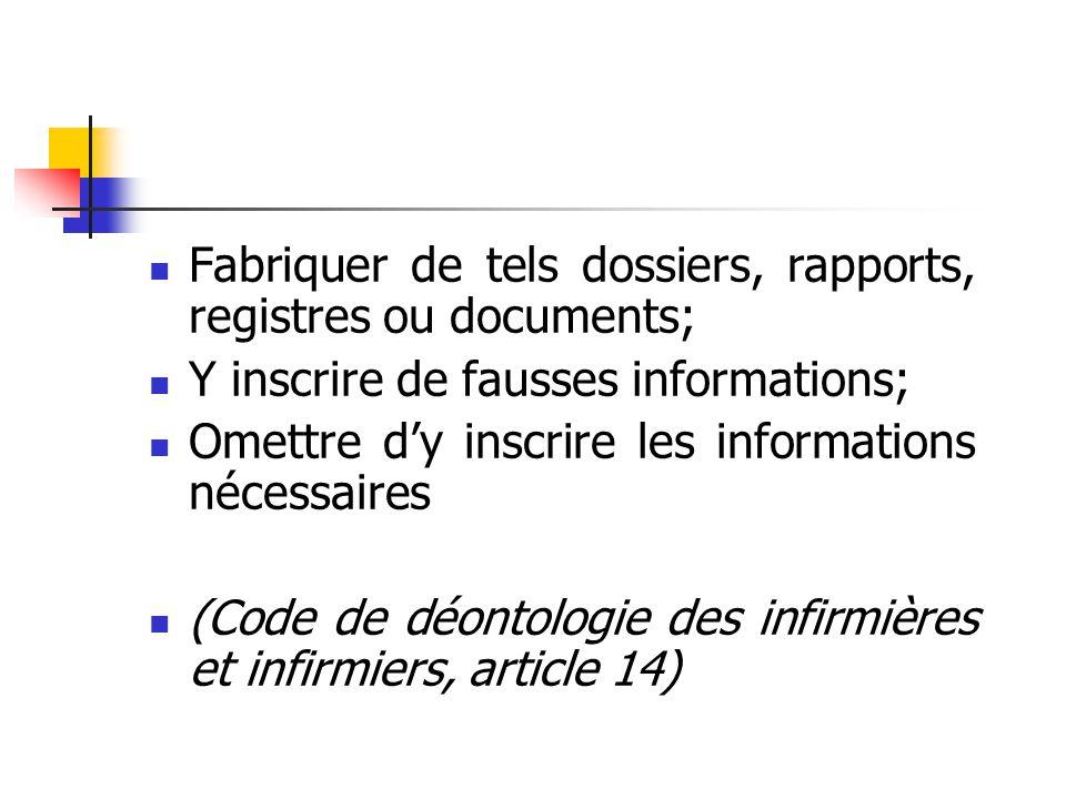 Fabriquer de tels dossiers, rapports, registres ou documents; Y inscrire de fausses informations; Omettre d'y inscrire les informations nécessaires (Code de déontologie des infirmières et infirmiers, article 14)
