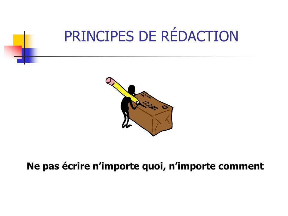 PRINCIPES DE RÉDACTION Ne pas écrire n'importe quoi, n'importe comment