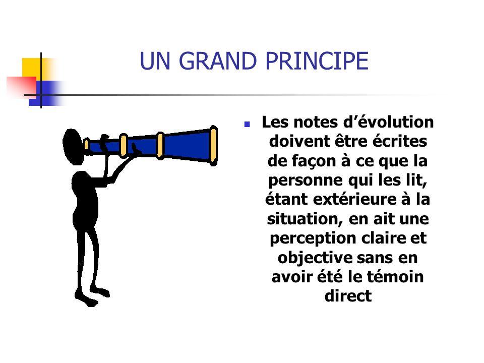 UN GRAND PRINCIPE Les notes d'évolution doivent être écrites de façon à ce que la personne qui les lit, étant extérieure à la situation, en ait une pe