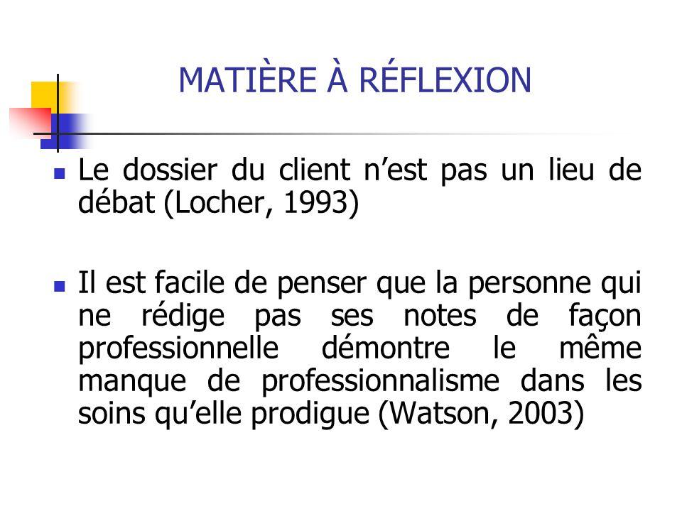 MATIÈRE À RÉFLEXION Le dossier du client n'est pas un lieu de débat (Locher, 1993) Il est facile de penser que la personne qui ne rédige pas ses notes de façon professionnelle démontre le même manque de professionnalisme dans les soins qu'elle prodigue (Watson, 2003)