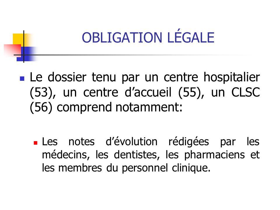 OBLIGATION LÉGALE Le dossier tenu par un centre hospitalier (53), un centre d'accueil (55), un CLSC (56) comprend notamment: Les notes d'évolution rédigées par les médecins, les dentistes, les pharmaciens et les membres du personnel clinique.