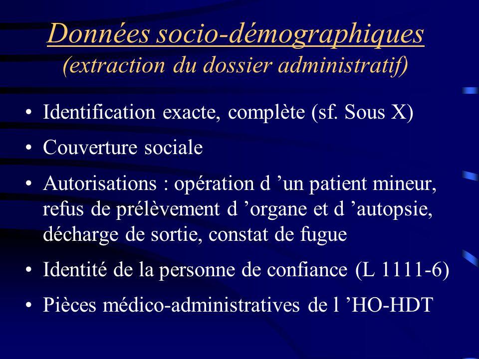 Données socio-démographiques (extraction du dossier administratif) Identification exacte, complète (sf. Sous X) Couverture sociale Autorisations : opé
