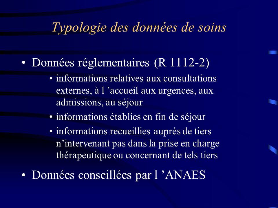 Typologie des données de soins Données réglementaires (R 1112-2) informations relatives aux consultations externes, à l 'accueil aux urgences, aux adm