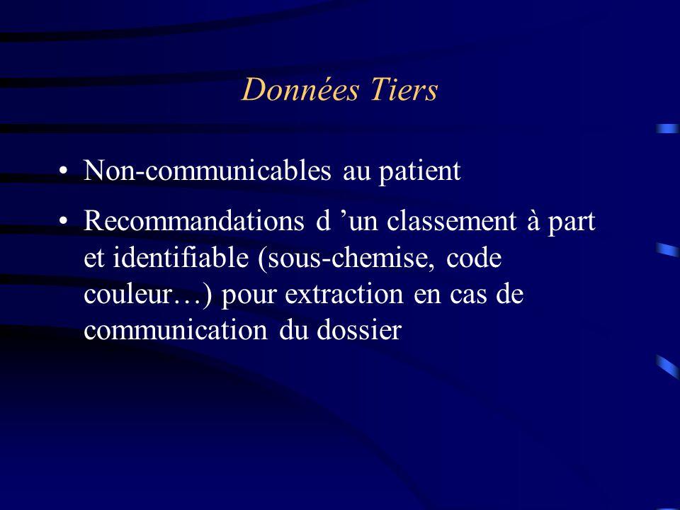 Données Tiers Non-communicables au patient Recommandations d 'un classement à part et identifiable (sous-chemise, code couleur…) pour extraction en ca