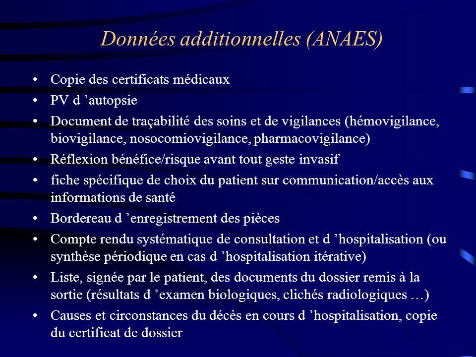Données additionnelles (ANAES) Copie des certificats médicaux PV d 'autopsie Document de traçabilité des soins et de vigilances (hémovigilance, biovig