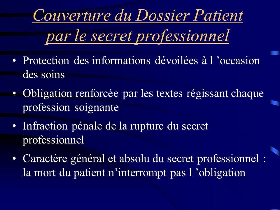 Couverture du Dossier Patient par le secret professionnel Protection des informations dévoilées à l 'occasion des soins Obligation renforcée par les t