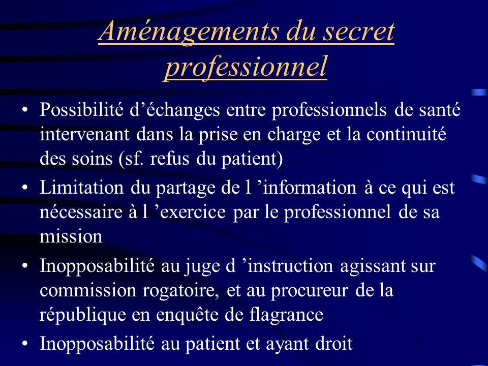 Aménagements du secret professionnel Possibilité d'échanges entre professionnels de santé intervenant dans la prise en charge et la continuité des soi