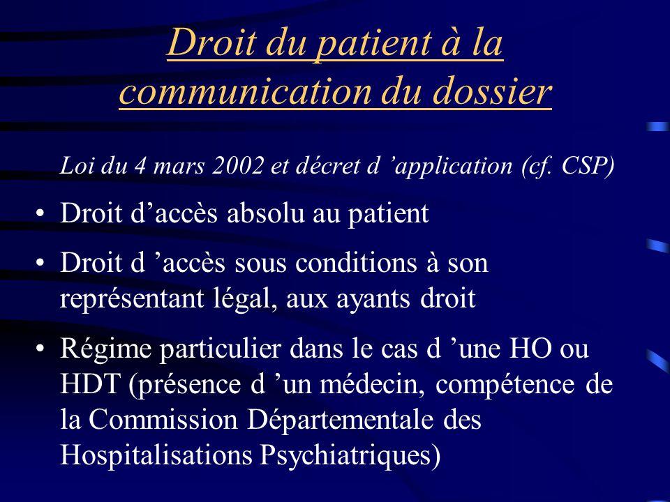 Droit du patient à la communication du dossier Loi du 4 mars 2002 et décret d 'application (cf. CSP) Droit d'accès absolu au patient Droit d 'accès so