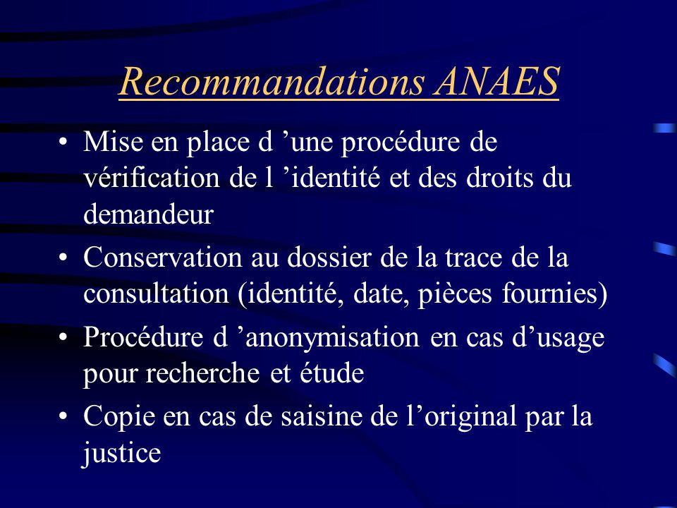 Recommandations ANAES Mise en place d 'une procédure de vérification de l 'identité et des droits du demandeur Conservation au dossier de la trace de