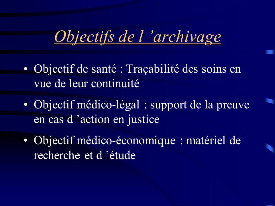 Objectifs de l 'archivage Objectif de santé : Traçabilité des soins en vue de leur continuité Objectif médico-légal : support de la preuve en cas d 'a