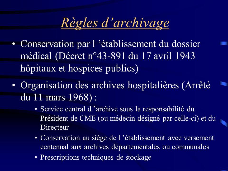 Règles d'archivage Conservation par l 'établissement du dossier médical (Décret n°43-891 du 17 avril 1943 hôpitaux et hospices publics) Organisation d