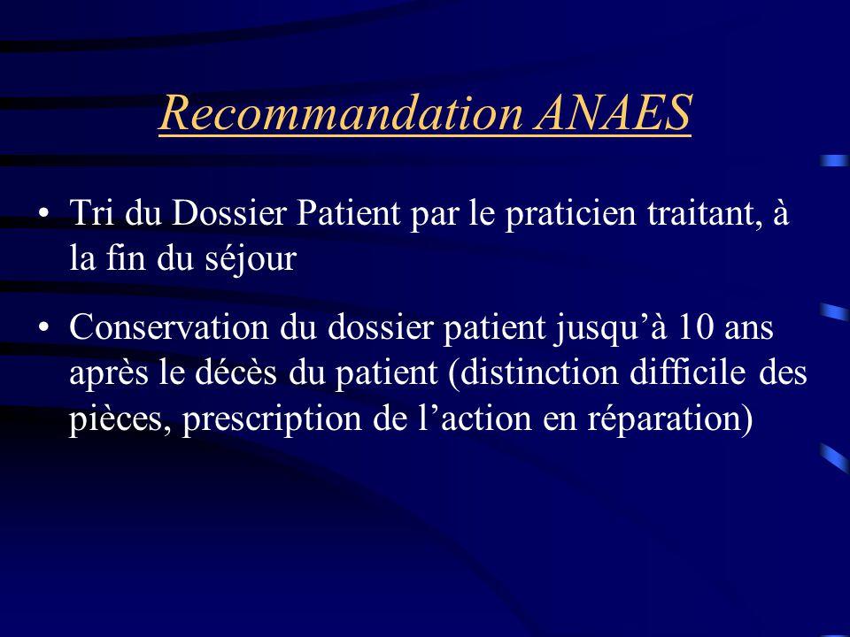 Recommandation ANAES Tri du Dossier Patient par le praticien traitant, à la fin du séjour Conservation du dossier patient jusqu'à 10 ans après le décè