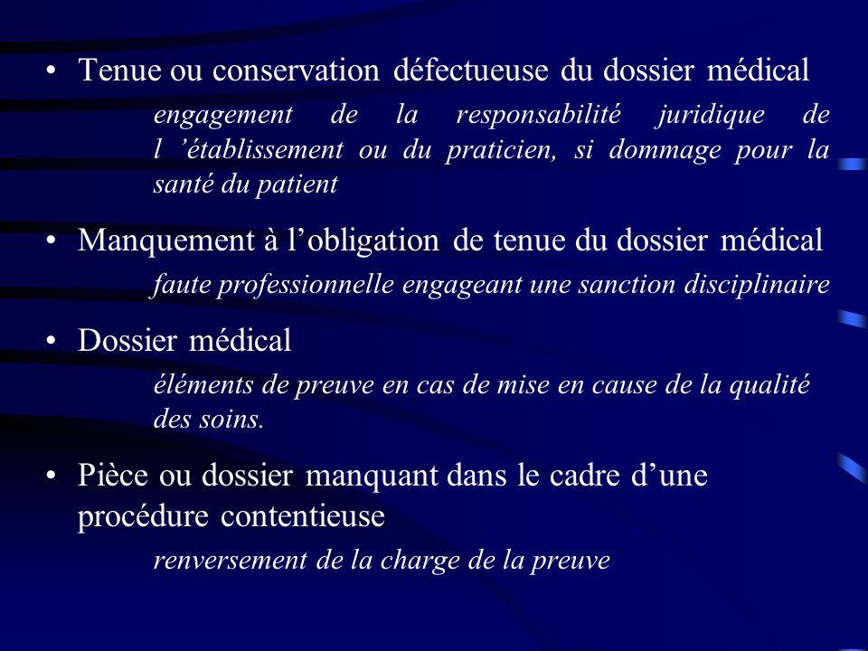 Tenue ou conservation défectueuse du dossier médical engagement de la responsabilité juridique de l 'établissement ou du praticien, si dommage pour la