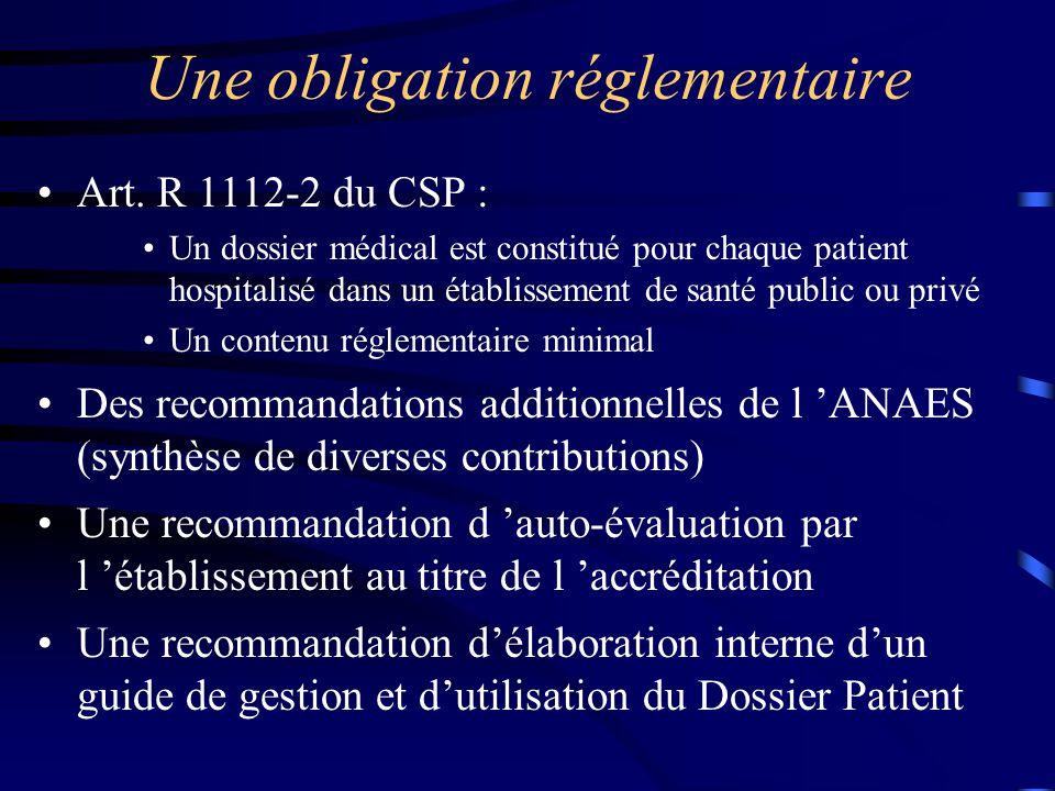 Une obligation réglementaire Art. R 1112-2 du CSP : Un dossier médical est constitué pour chaque patient hospitalisé dans un établissement de santé pu
