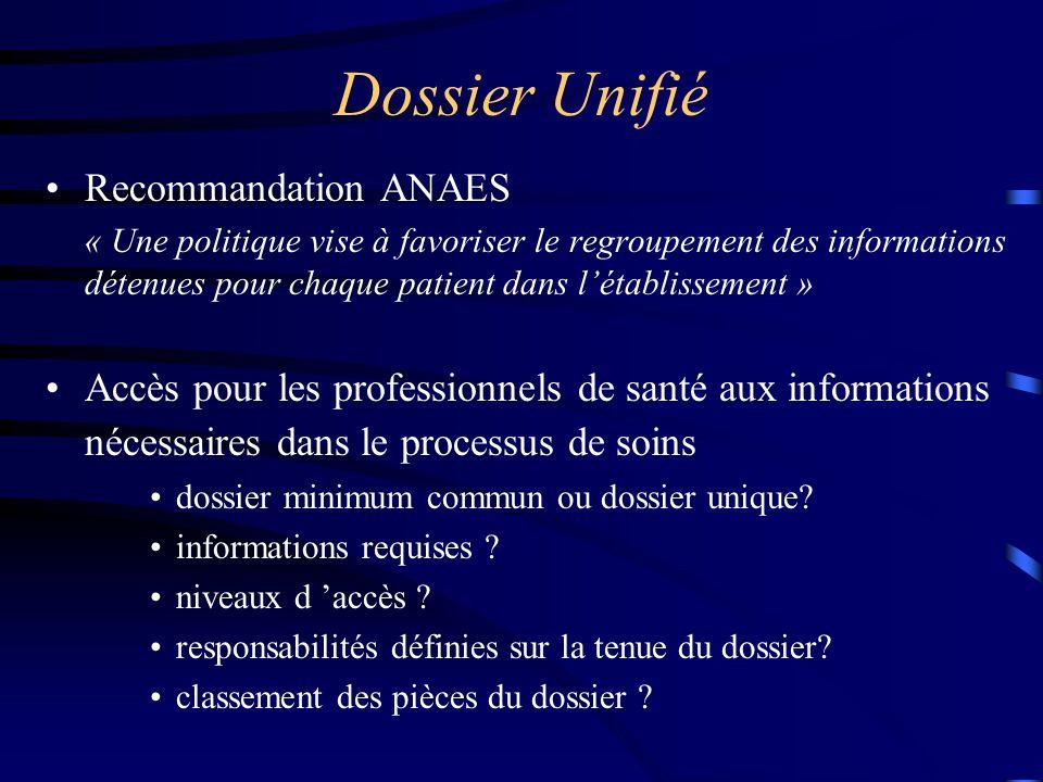 Dossier Unifié Recommandation ANAES « Une politique vise à favoriser le regroupement des informations détenues pour chaque patient dans l'établissemen