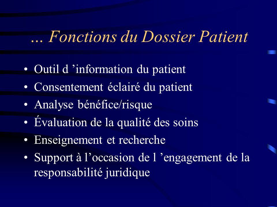 … Fonctions du Dossier Patient Outil d 'information du patient Consentement éclairé du patient Analyse bénéfice/risque Évaluation de la qualité des so