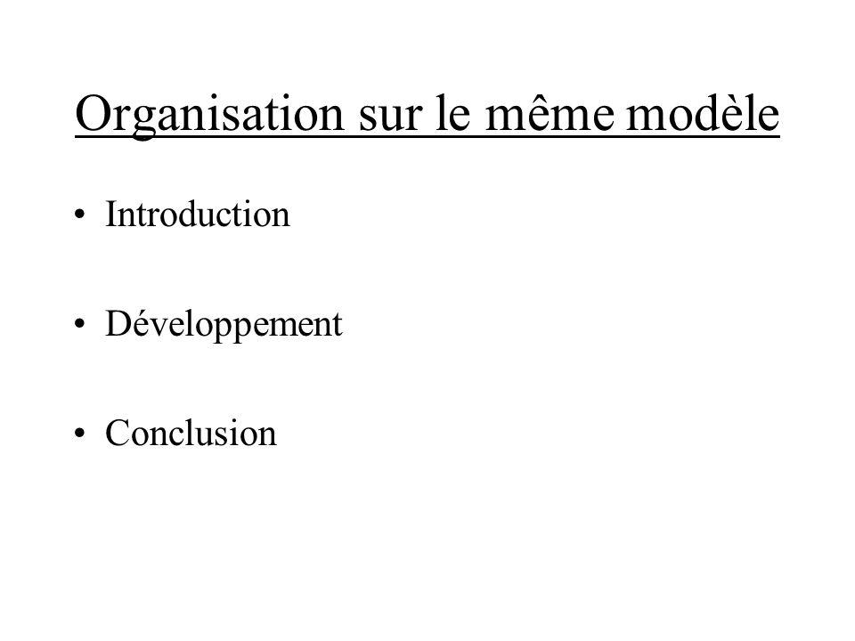 Organisation sur le même modèle Introduction Développement Conclusion