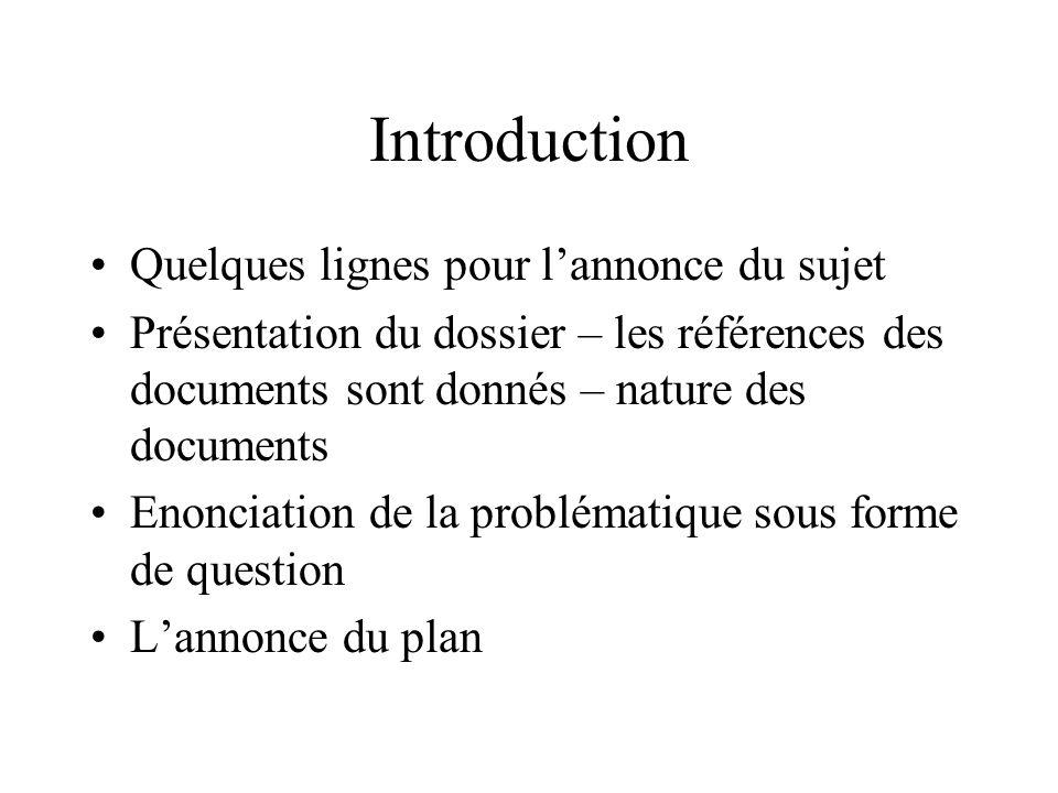 Introduction Quelques lignes pour l'annonce du sujet Présentation du dossier – les références des documents sont donnés – nature des documents Enoncia