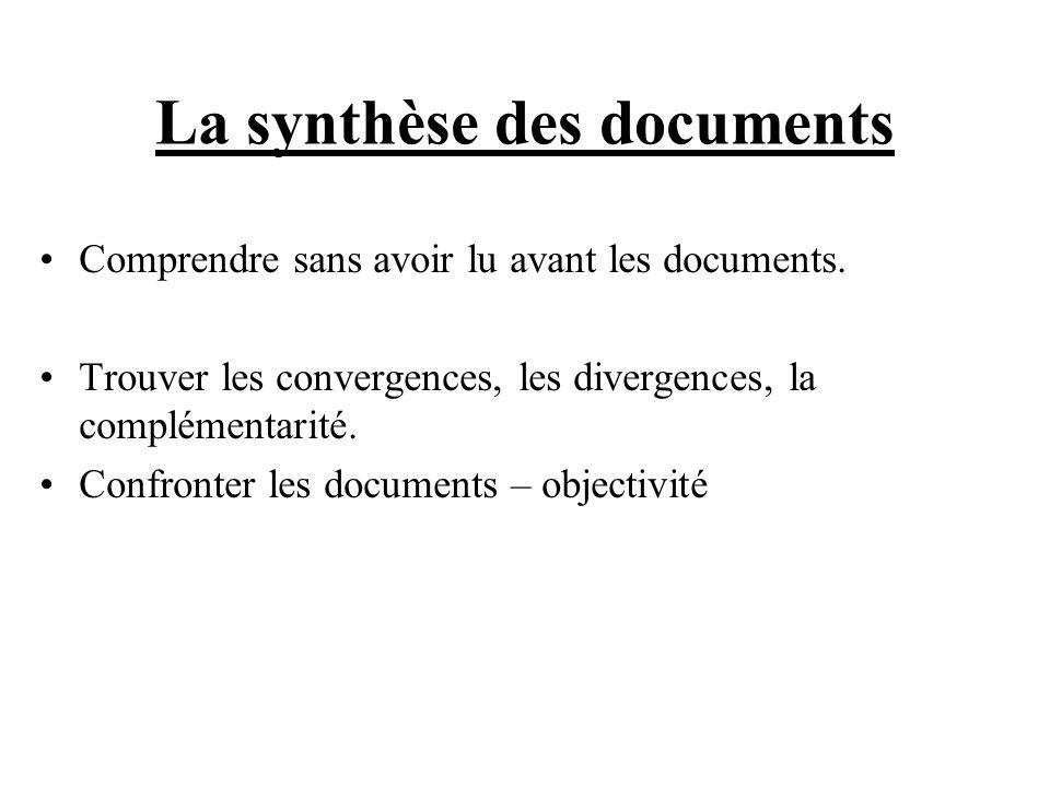 La synthèse des documents Comprendre sans avoir lu avant les documents. Trouver les convergences, les divergences, la complémentarité. Confronter les