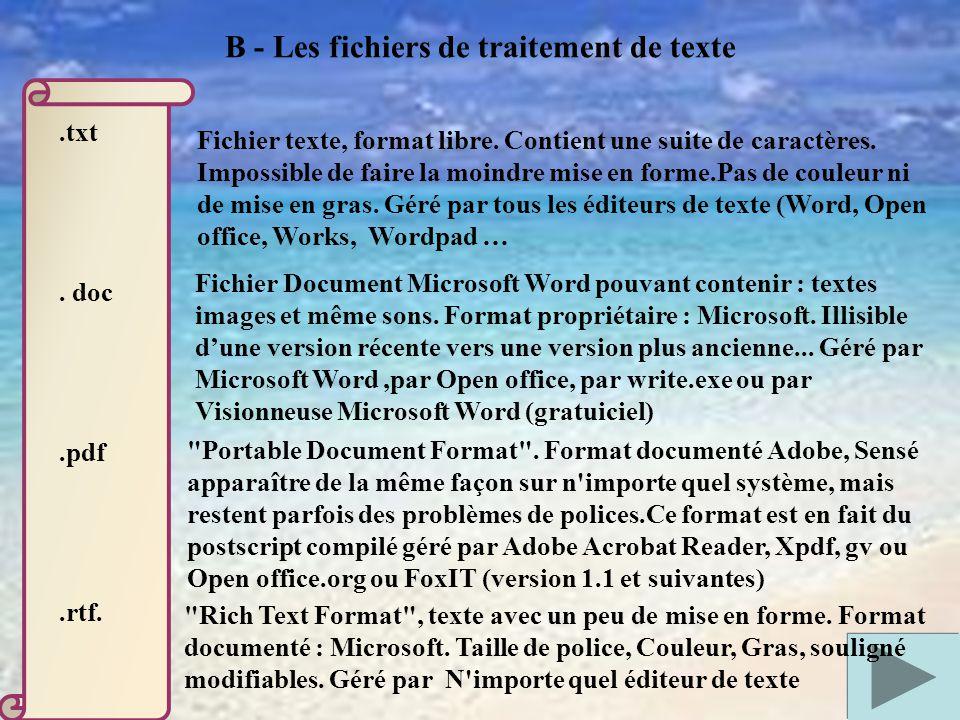 .txt.doc.pdf.rtf. Fichier texte, format libre. Contient une suite de caractères.