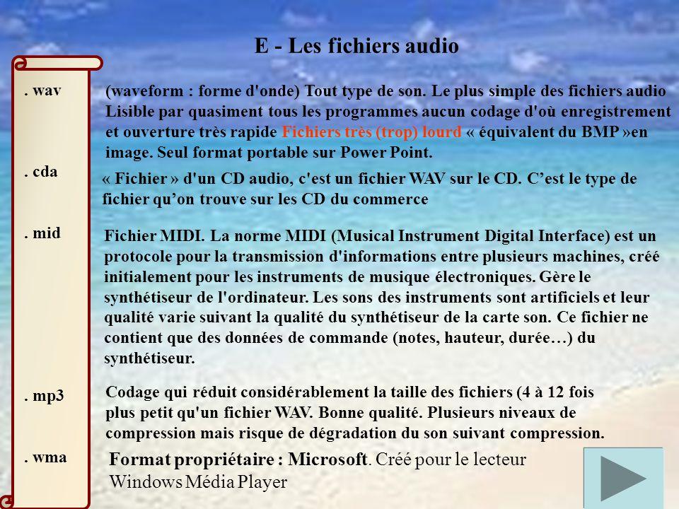 E - Les fichiers audio.wav. cda. mid. mp3. wma (waveform : forme d onde) Tout type de son.
