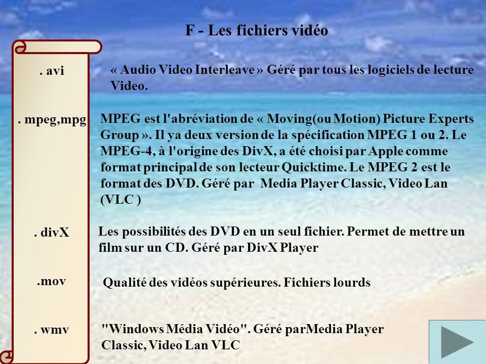 F - Les fichiers vidéo.avi. mpeg,mpg. divX.mov.