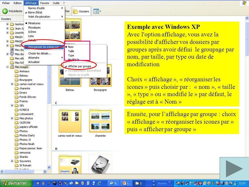 Exemple avec Windows XP Avec l option affichage, vous avez la possibilité d afficher vos dossiers par groupes après avoir défini le groupage par nom, par taille, par type ou date de modification Choix « affichage », « réorganiser les icones » puis choisir par : « nom », « taille », « type » ou « modifié le » par défaut, le réglage est à « Nom » Ensuite, pour l'affichage par groupe : choix « affichage » « réorganiser les icones par » puis « afficher par groupe »