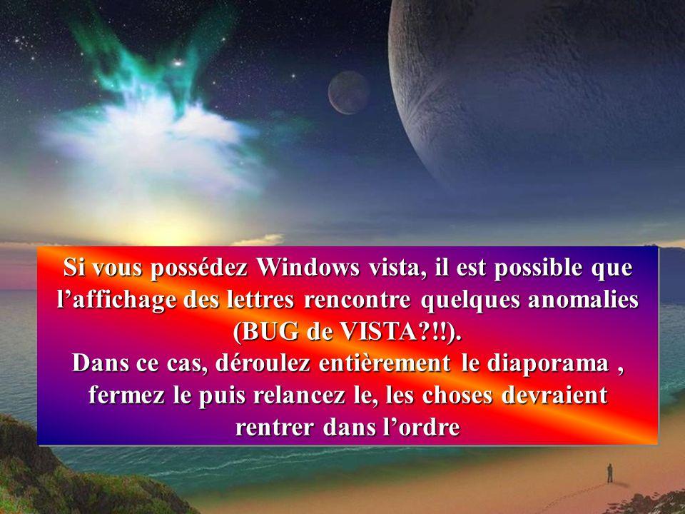 Si vous possédez Windows vista, il est possible que l'affichage des lettres rencontre quelques anomalies (BUG de VISTA?!!).
