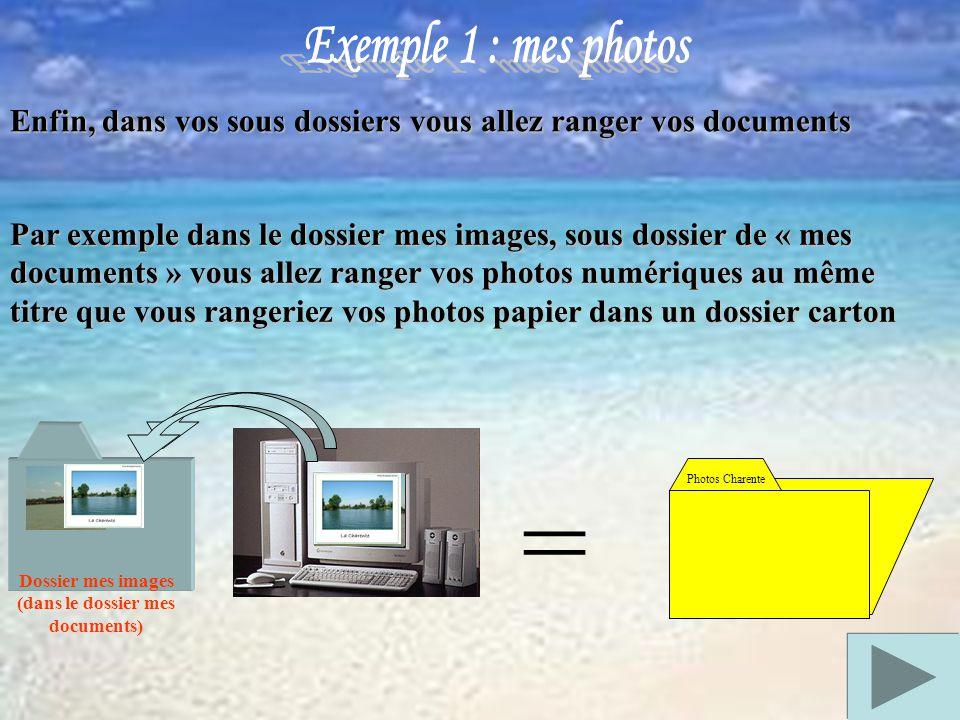 Enfin, dans vos sous dossiers vous allez ranger vos documents Dossier mes images (dans le dossier mes documents) = Par exemple dans le dossier mes images, sous dossier de « mes documents » vous allez ranger vos photos numériques au même titre que vous rangeriez vos photos papier dans un dossier carton Photos Charente