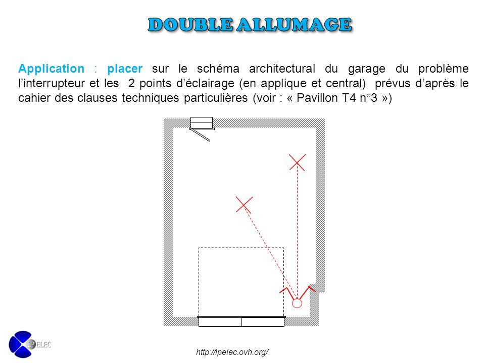 http://lpelec.ovh.org/ Application : placer sur le schéma architectural du garage du problème l'interrupteur et les 2 points d'éclairage (en applique