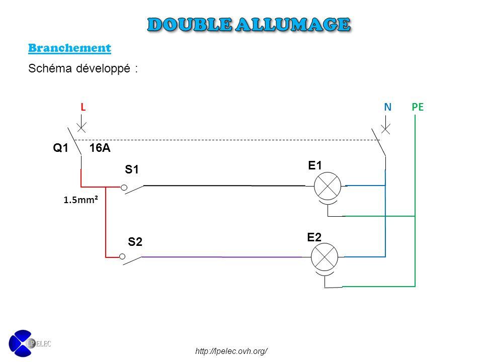 http://lpelec.ovh.org/ L N PE E1 S1 1.5mm² Q1 16A E2 S2 Branchement Schéma développé :
