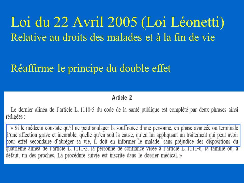 Loi du 22 Avril 2005 (Loi Léonetti) Relative au droits des malades et à la fin de vie Réaffirme le principe du double effet