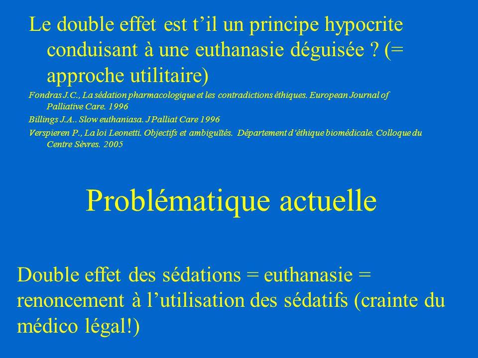 Problématique actuelle Le double effet est t'il un principe hypocrite conduisant à une euthanasie déguisée ? (= approche utilitaire) Fondras J.C., La