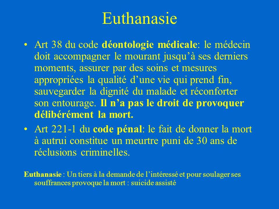 Euthanasie Art 38 du code déontologie médicale: le médecin doit accompagner le mourant jusqu'à ses derniers moments, assurer par des soins et mesures