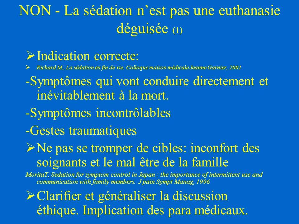 NON - La sédation n'est pas une euthanasie déguisée (1)  Indication correcte:  Richard M., La sédation en fin de vie. Colloque maison médicale Jeann