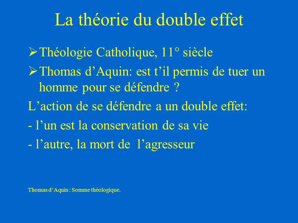 La théorie du double effet  Théologie Catholique, 11° siècle  Thomas d'Aquin: est t'il permis de tuer un homme pour se défendre ? L'action de se déf