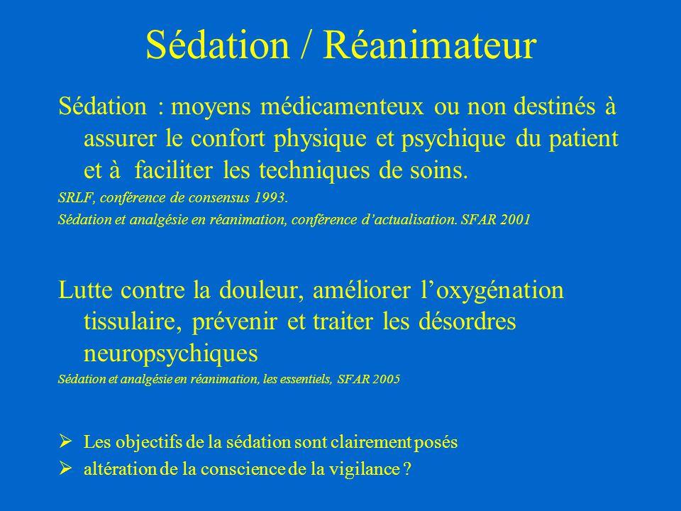 Sédation / Réanimateur Sédation : moyens médicamenteux ou non destinés à assurer le confort physique et psychique du patient et à faciliter les techni
