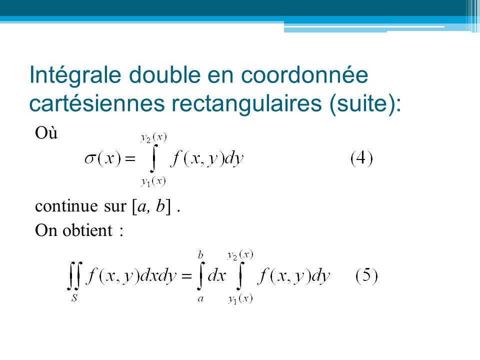 Intégrale double en coordonnée cartésiennes rectangulaires (suite): Où continue sur [a, b]. On obtient :