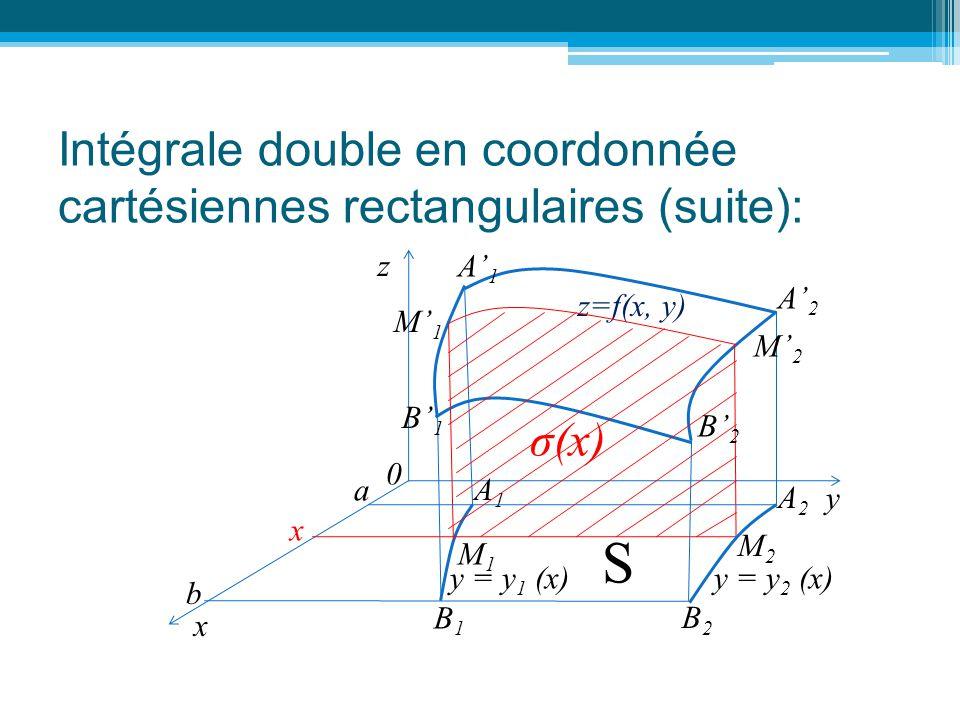 Intégrale double en coordonnée cartésiennes rectangulaires (suite): z 0 y a z=f(x, y) x M1M1 M2M2 A2A2 A1A1 B2B2 B1B1 y = y 2 (x) S σ(x) b y = y 1 (x)