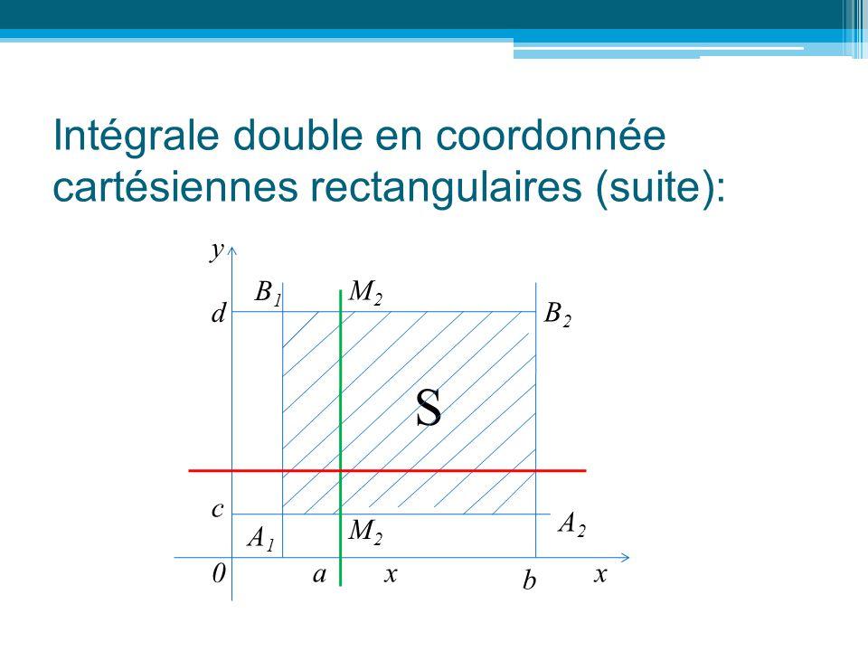 Intégrale double en coordonnée cartésiennes rectangulaires (suite): y 0 x c d x M2M2 M2M2 A2A2 A1A1 B2B2 B1B1 S a b