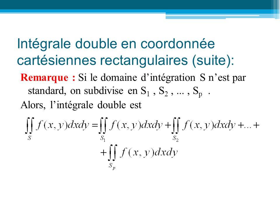 Remarque : Si le domaine d'intégration S n'est par standard, on subdivise en S 1, S 2,..., S p. Alors, l'intégrale double est