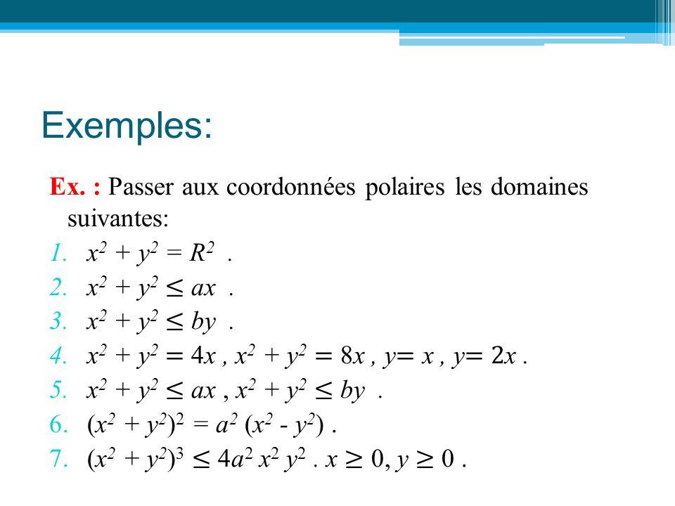 Exemples: Ex. : Passer aux coordonnées polaires les domaines suivantes: 1.x 2 + y 2 = R 2. 2.x 2 + y 2 ≤ ax. 3.x 2 + y 2 ≤ by. 4.x 2 + y 2 = 4x, x 2 +