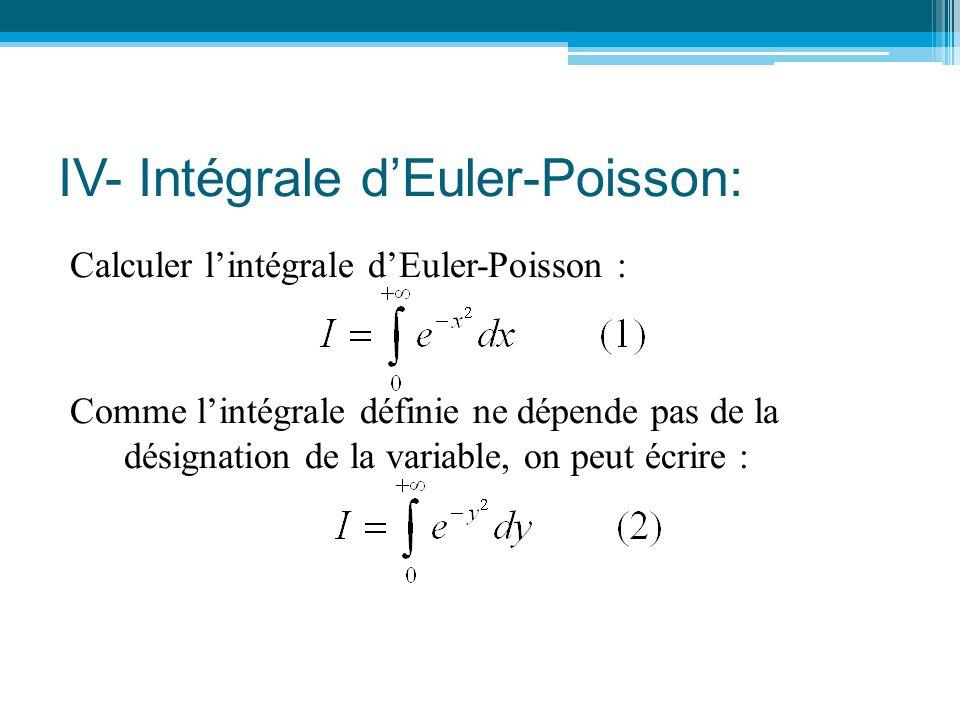 IV- Intégrale d'Euler-Poisson: Calculer l'intégrale d'Euler-Poisson : Comme l'intégrale définie ne dépende pas de la désignation de la variable, on pe